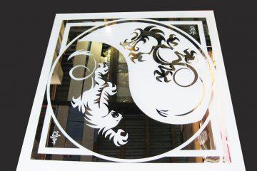 Декор № 033/2 595×595 мм (Серебро) матовый фон/зеркальный рисунок «Инь-янь»