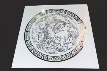 Декор № 035/2 595×595 мм (Серебро) матовый фон/зеркальный рисунок «Дракон»