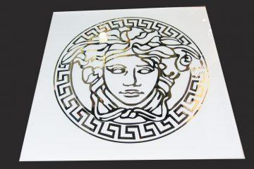 Декор № 036/2 595×595 мм (Серебро) матовый фон/зеркальный рисунок «Версаче»