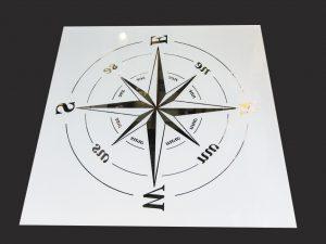 """Декор № 037/2 595x595 мм (Серебро) матовый фон/зеркальный рисунок """"Компас"""""""