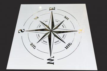 Декор № 037/2 595×595 мм (Серебро) матовый фон/зеркальный рисунок «Компас»