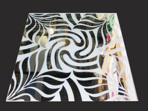 """Декор № 055/2 595x595 мм (Серебро) матовый фон/зеркальный рисунок """"Папоротник"""""""