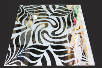 Декор № 055/2 595×595 мм (Серебро) матовый фон/зеркальный рисунок «Папоротник»