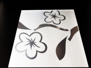 Декор 2 цветка 295х295 мм (Серебро) матовый фон