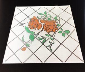 Декор Ромбик и Роза (цветной) 295x295 мм