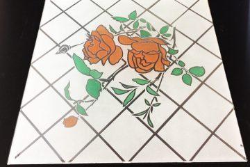 Декор Ромбик и Роза (цветной) 295×295 мм
