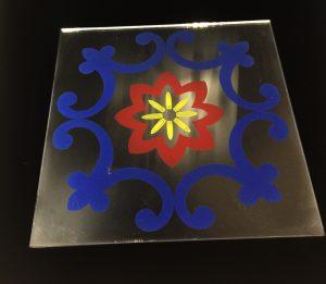 Декор Узор (цветной) синий и красный 295x295 мм