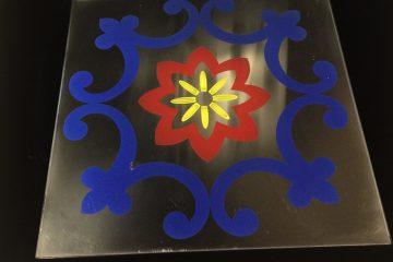 Декор Узор (цветной) синий и красный 295×295 мм