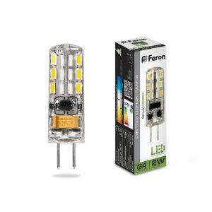 Лампа светодиодная Feron G4 12v 2w 4000К (холодный свет)